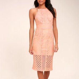 Keepsake Bridges Blush Pink Lace Midi Dress XL